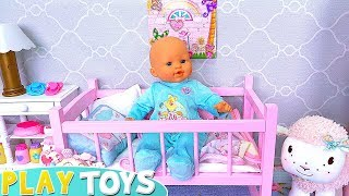 Baby Doll Play with Toys in Dolls Bedroom Bunk Bed !