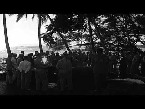 US President Franklin Roosevelt holds press conference at Hickam Field,  Honolulu...HD Stock Footage