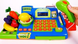 Cash Register Playset for Children Learn Colors Fruits and Vegetables with Play Pretend Food