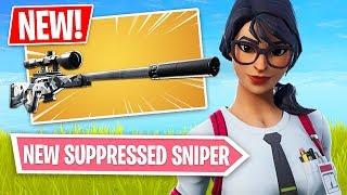 Fortnite *NEW* Suppressed Sniper Rifle Gameplay!! (Fortnite Battle Royale)