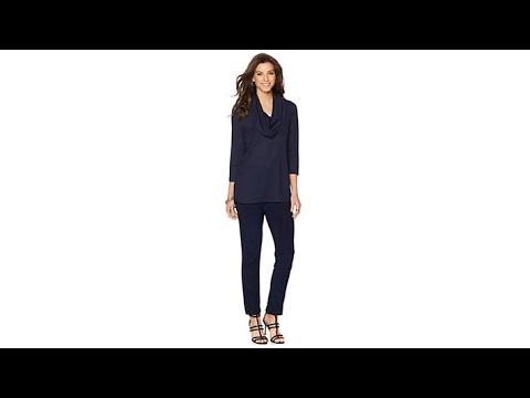 Slinky Brand Textured Tunic and Jersey Skinny Pants