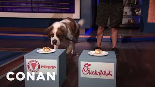 Dudley The Taste Test Dog Settles The Chicken Sandwich Feud - CONAN on TBS
