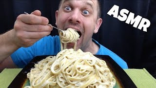 FETTUCCINE ALFREDO ASMR *SQUISHY EATING SOUNDS + BIG BITES*