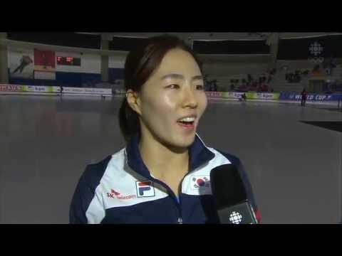 Sang-Hwa Lee (KOR ) - Women`s 500m`s + english interview - ISU Speed skating World Cup Calgary