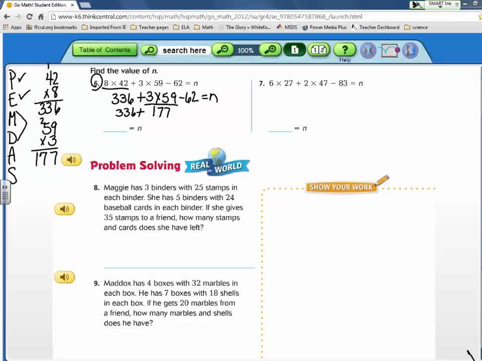 Go math 4th grade homework help