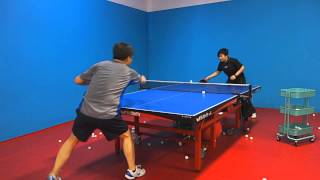 Training with Coach Li: Forehand flip followed by backhand and forehand looping
