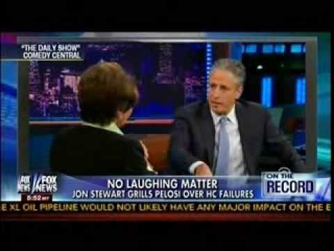 No Laughing Matter - Jon Stewart Grills Pelosi Over HC Failures - Obamacare -On The Record