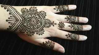 Simple Pretty Indian Henna - Easy Indian Arabic Fusion Mehendi Design