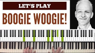 Jimmy Yancey style Boogie Piano with synced score. Blues Piano lesson. medium.