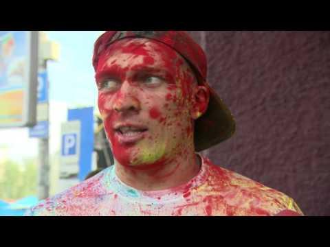 Александр Усик и Денис Беринчик. Интервью после забега Colour Run 2016. Киев, 05/06/2016