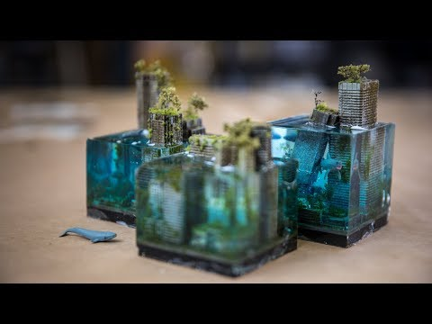 Creating the miniature sci-fi city in a garage - from junk!