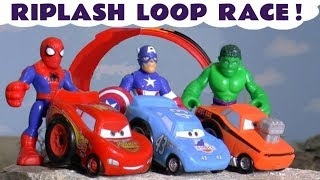 Cars McQueen and Cars Vehicles race with Superheroes Spiderman Hulk and the funny Funlings TT4U