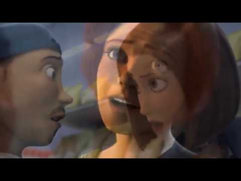 Bee movie trailer but every time they say bee Shrek Movie trailer appears a little bit more