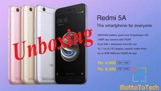 Unboxing  Redmi 5A   Xiaomi   Hindi   Budget Smartphone   India