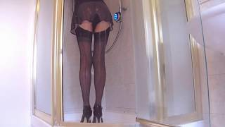 Showering In Stockings And French Knickers