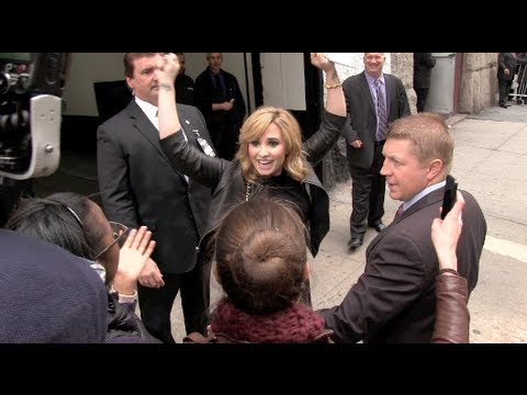 Demi Lovato and Simon Cowell at the Fox Upfronts in NYC