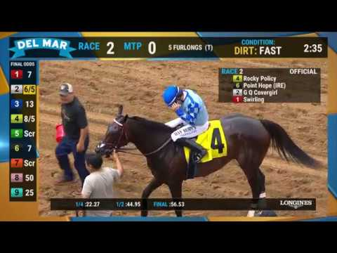 Rocky Policy Wins Race 2 at Del Mar 08/01/19