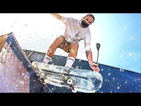 GLASS SKATEBOARD FROZEN IN ICE SKATEBOARD?!