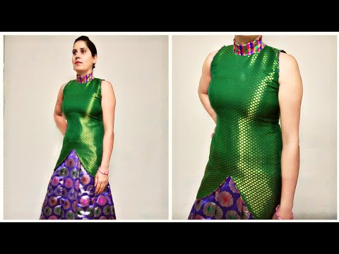 High collar neck choli design for Lengha,dress making payjami Kurtis  zipper back cutting stitching