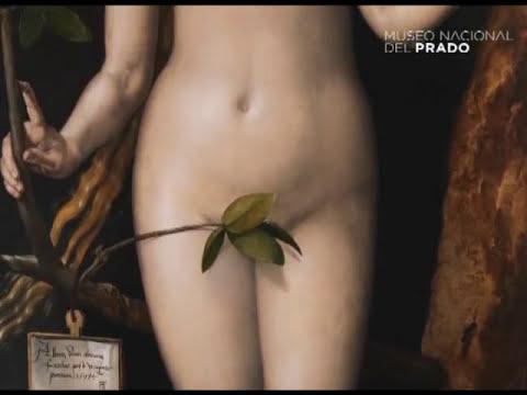 Proceso de restauración de pintura en Adán y Eva, de Durero