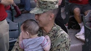 BOS@LAA: Military father gives family a surprise