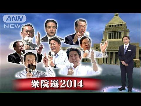 """YouTube: アベノミクス解散から一夜・・・""""短期決戦""""各党が訴え(14/11/22)"""