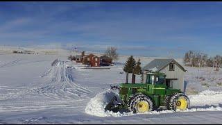 John Deere 8440 plowing snow in Bickleton, WA. DJI Phantom 3 standard drone and a go pro camera