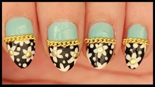 Flowers with Gold Studs & Chains nail art