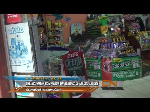 Delincuentes rompieron un blindex de un drugstore y robaron