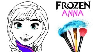 How to Draw & Color Frozen Ana | Drawing Makeup Markers Learning 4 Kids | Toddlers Learn HD Colors