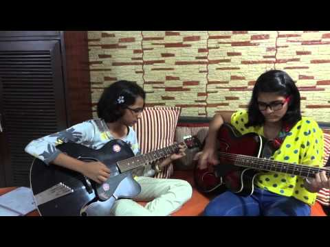 Dus Bahane karke le gaye Dil Song on guitar by Chinmayee-Teetiksha...