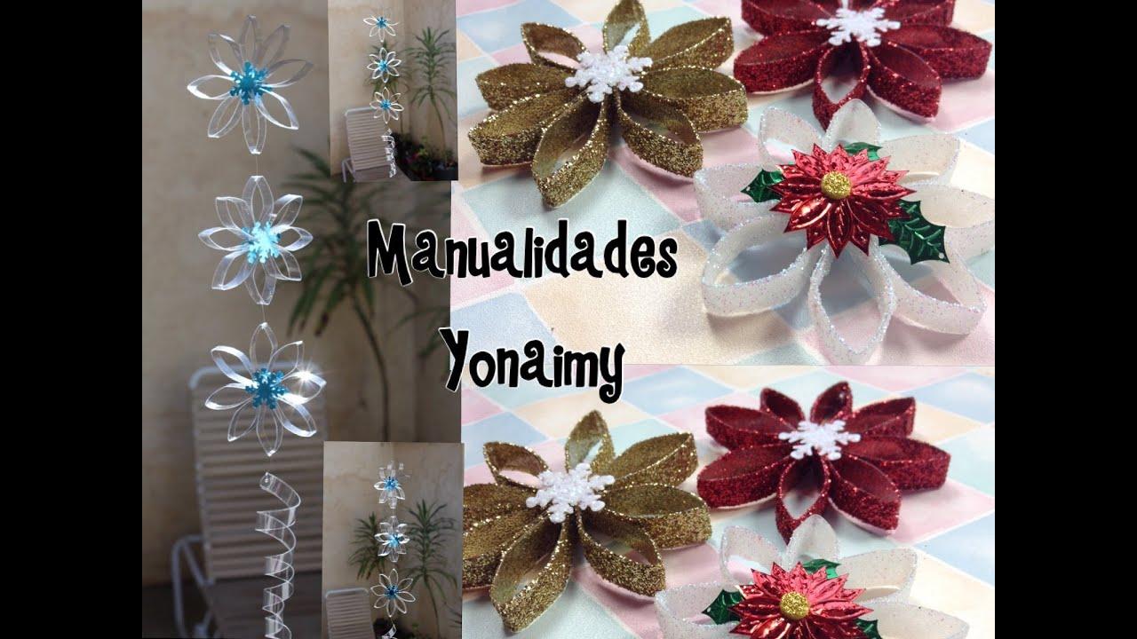 Flores hechas con botellas pet para adornos de arbolitos - Adorno de navidad manualidades ...