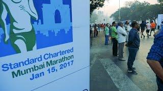 Mumbai Marathon 2017 Video Part 1.Half Marathon Participants running.Mumbai Run.India.Indian Event