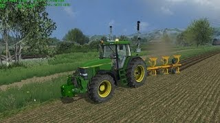 Farming Simulator 2013 Plowing with John Deere 7810 and Moro Warrior