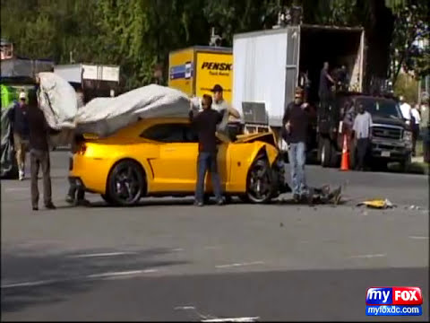 Transformers 3 Bumblebee Camaro Crashes while filming in DC