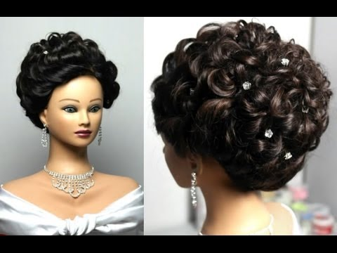 Wedding hairstyle for long hair. Curly updo - YouTube