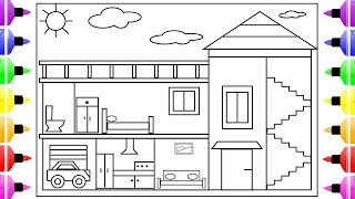 How to Draw a House for Kids |  House Coloring Book for Kids | House Drawing for Kids