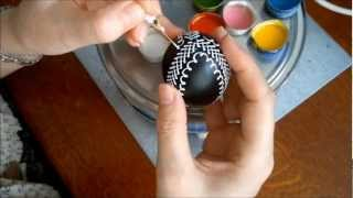 Zdobení kraslice voskovými barvami, Easter Egg Decoration with waxy colors,