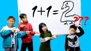 Hunter Kids Go To School Learn Colors Math Number (1+1 = ?) | Classroom Funny Nursery Rhymes