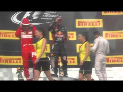 Crazy fan on track. Hungarian Grand Prix 2014 - Podium - Ricciardo Wins