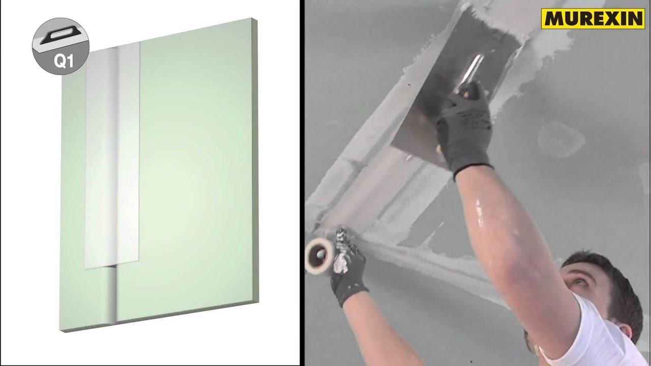 murexin verspachtelung von gipskartonplatten in den qualit tsstufen q1 q4 youtube. Black Bedroom Furniture Sets. Home Design Ideas