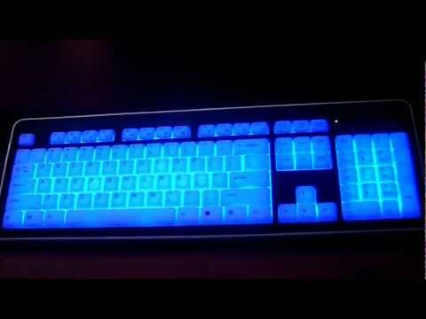 illuminated keyboard Backlit Back lit Modtek Slim Acrylic USB Computer Pc desktop wired full size
