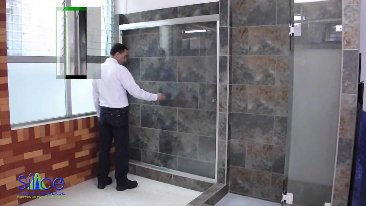 Vidrio templado s lice puerta corrediza para ducha youtube for Puertas corredizas