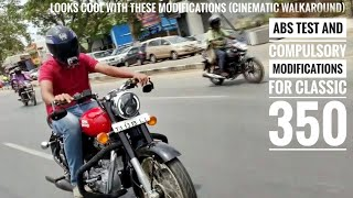 Royal Enfield Classic 350 Compulsory Modifications |Walkaround|ABS Test|Red Rooster Exhaust Note|