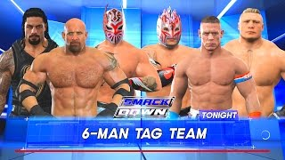 Goldberg & Roman Reigns & Sin Cara vs. John Cena & Kalisto & Brock Lesnar   WWE 2K17 SD Live