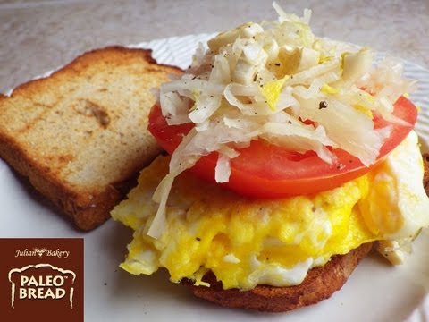 Paleo Tomato Egg Breakfast On Paleo Bread