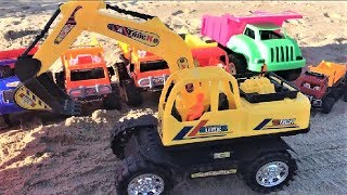 Find Truck Excavator Toys in The Sand - Car for Children - Songs for Kids
