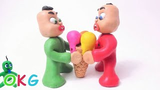 Green Baby Gets BIG ICE CREAM! In Fun Color Baby Superhero - Stop Motion Cartoons For Kids