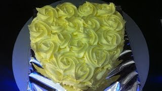 Pineapple Cake Icing And Decoration - Heart Shaped Anniversary Cake