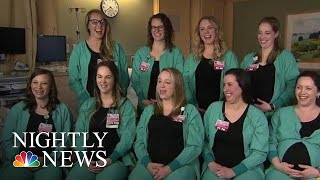 Nine Nurses From Same Hospital Wing All Expecting This Spring | NBC Nightly News